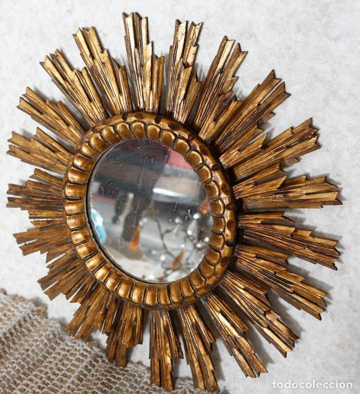 Espejo de madera con forma de sol a os 50 muu comprar - Espejos con forma de sol ...