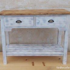 Vintage - mesa de madera blanca con 2 cajones y balda ,decapada vintage ,mueble entrada, mue365 - 76554943