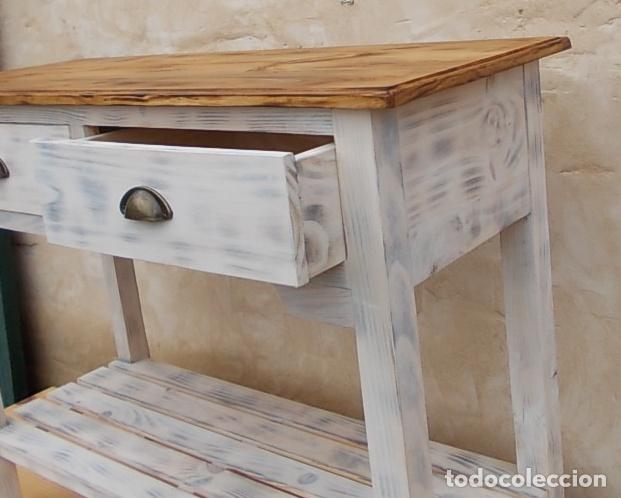 Mesa de madera blanca con 2 cajones y balda de comprar muebles vintage en todocoleccion - Mesa blanca y madera ...