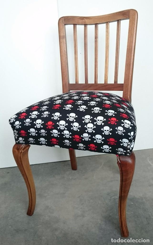 silla antigua restaurada con muelles y tapizado - Comprar Muebles ...