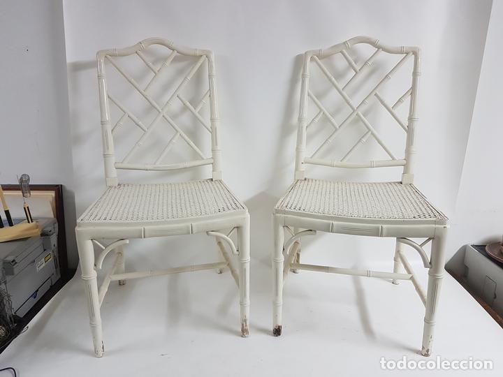 Pareja de sillas de madera imitando al bambu la comprar - Sillas de bambu ...