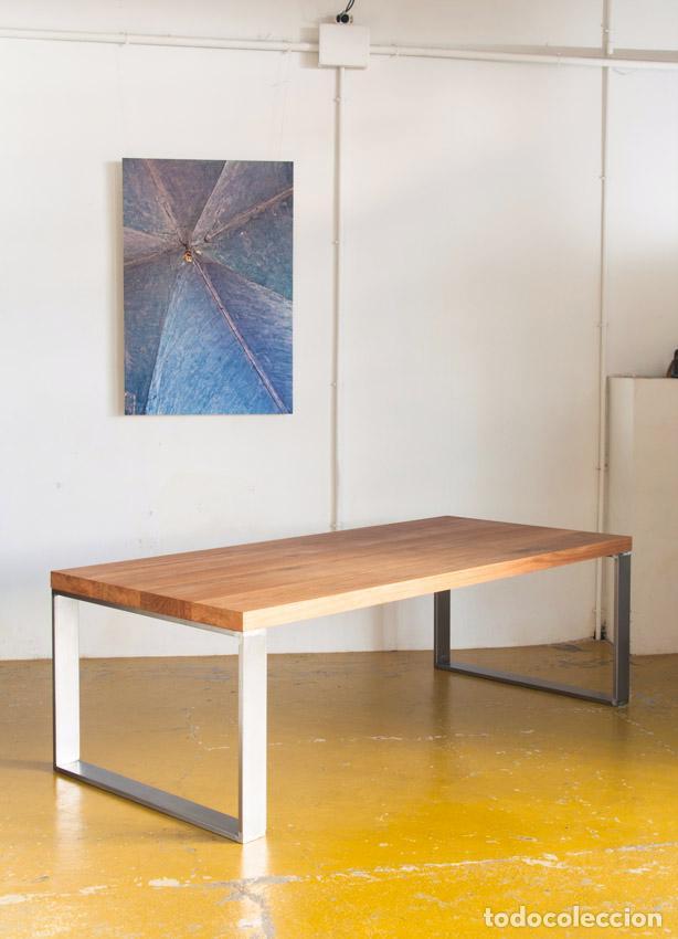 Mesa de madera maciza y pies de hierro las hac comprar for Muebles de madera maciza precios