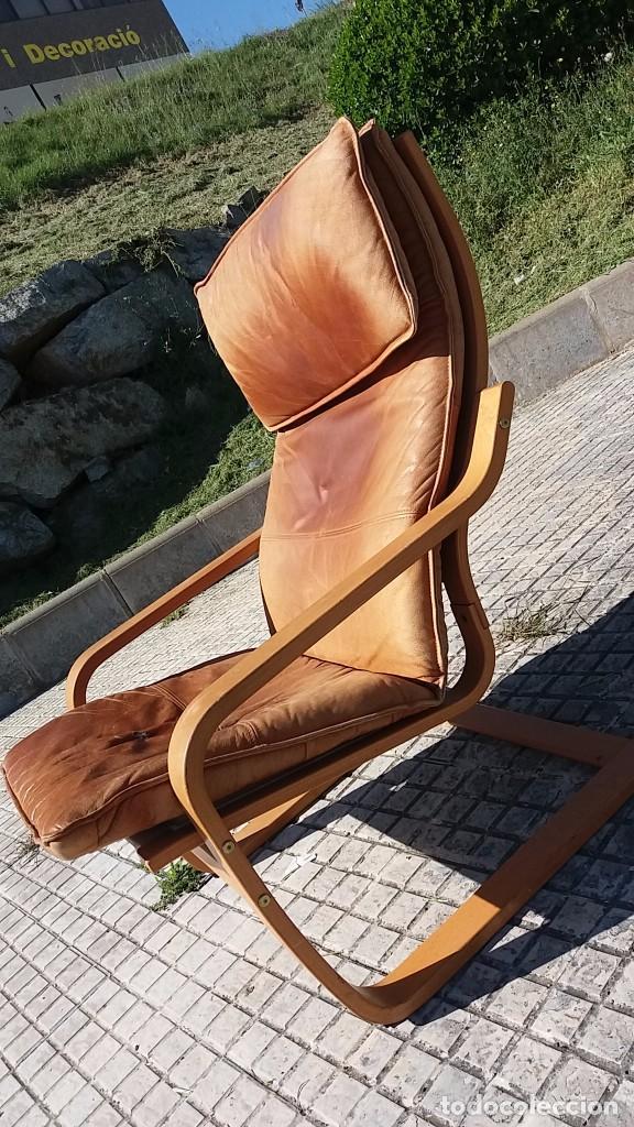 Vintage: Sillón sueco de piel vintage Silla Butaca de cuero Mecedora diseño escandinavo Lounge Chair - Foto 3 - 82102196