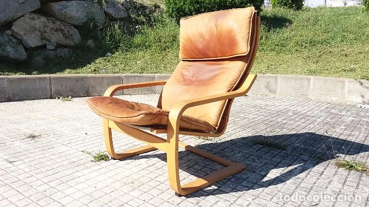 Vintage: Sillón sueco de piel vintage Silla Butaca de cuero Mecedora diseño escandinavo Lounge Chair - Foto 4 - 82102196