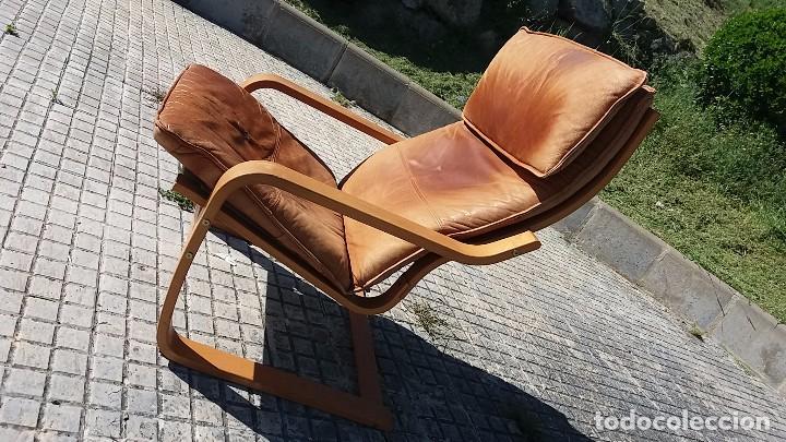 Vintage: Sillón sueco de piel vintage Silla Butaca de cuero Mecedora diseño escandinavo Lounge Chair - Foto 5 - 82102196