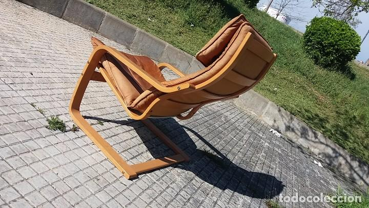 Vintage: Sillón sueco de piel vintage Silla Butaca de cuero Mecedora diseño escandinavo Lounge Chair - Foto 8 - 82102196
