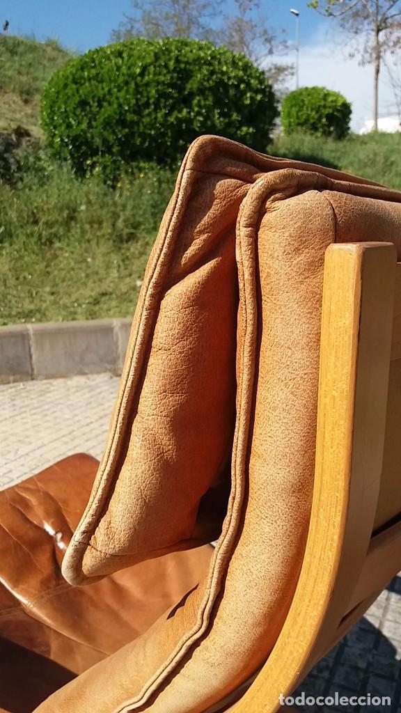 Vintage: Sillón sueco de piel vintage Silla Butaca de cuero Mecedora diseño escandinavo Lounge Chair - Foto 9 - 82102196