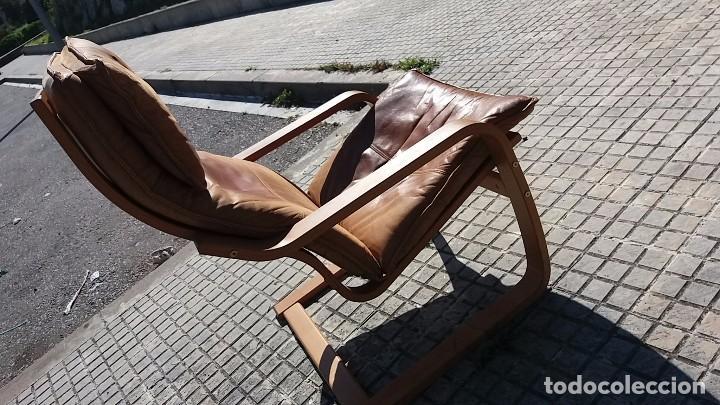 Vintage: Sillón sueco de piel vintage Silla Butaca de cuero Mecedora diseño escandinavo Lounge Chair - Foto 10 - 82102196