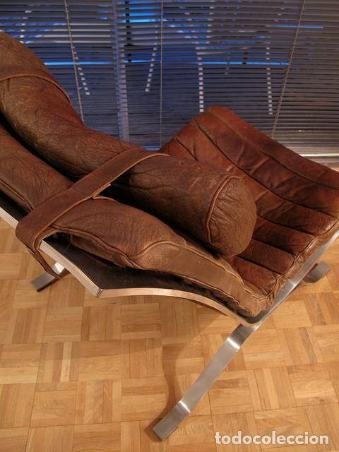 Vintage: Sillón sueco de piel vintage Silla Butaca de cuero Mecedora diseño escandinavo Lounge Chair - Foto 11 - 82102196