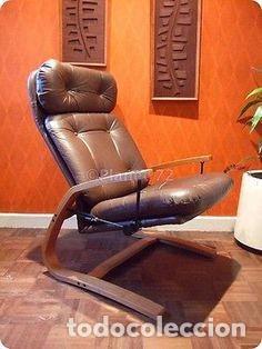 Vintage: Sillón sueco de piel vintage Silla Butaca de cuero Mecedora diseño escandinavo Lounge Chair - Foto 13 - 82102196