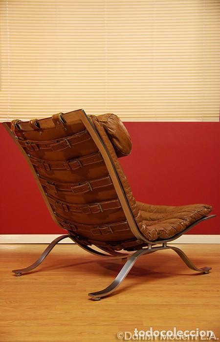 Vintage: Sillón sueco de piel vintage Silla Butaca de cuero Mecedora diseño escandinavo Lounge Chair - Foto 14 - 82102196