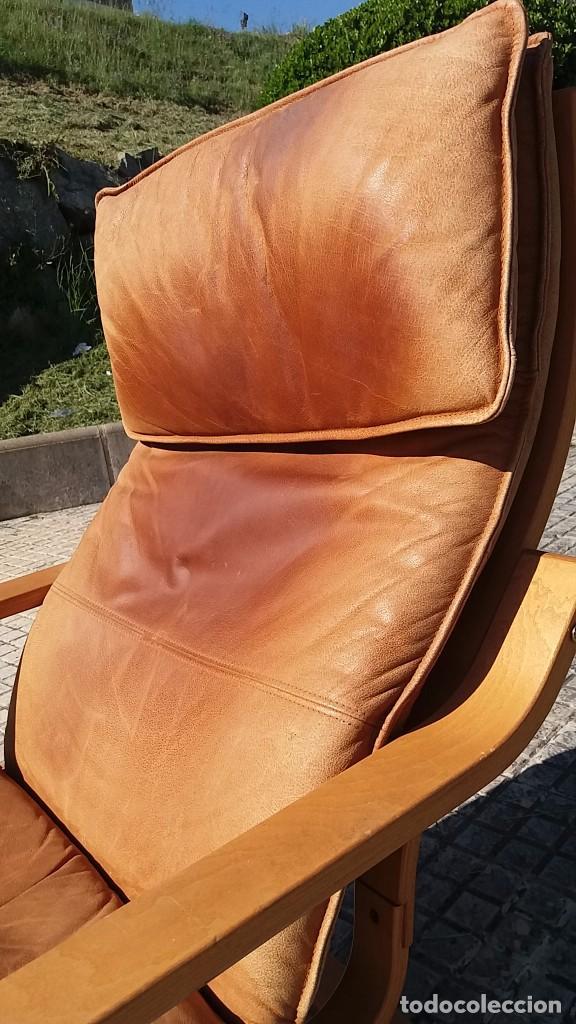 Vintage: Sillón sueco de piel vintage Silla Butaca de cuero Mecedora diseño escandinavo Lounge Chair - Foto 15 - 82102196