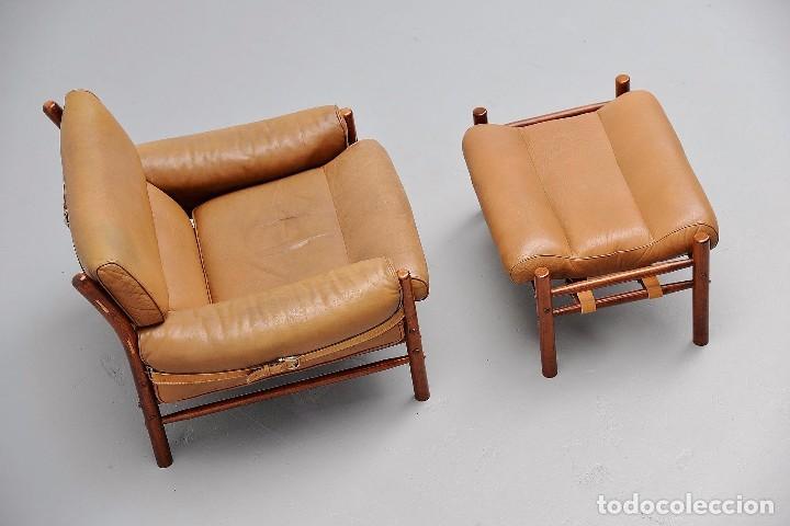 Vintage: Sillón sueco de piel vintage Silla Butaca de cuero Mecedora diseño escandinavo Lounge Chair - Foto 17 - 82102196