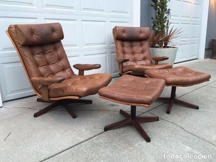 Vintage: Sillón sueco de piel vintage Silla Butaca de cuero Mecedora diseño escandinavo Lounge Chair - Foto 20 - 82102196