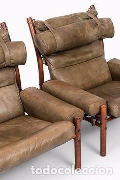Vintage: Sillón sueco de piel vintage Silla Butaca de cuero Mecedora diseño escandinavo Lounge Chair - Foto 21 - 82102196