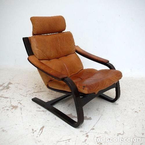 Vintage: Sillón sueco de piel vintage Silla Butaca de cuero Mecedora diseño escandinavo Lounge Chair - Foto 22 - 82102196