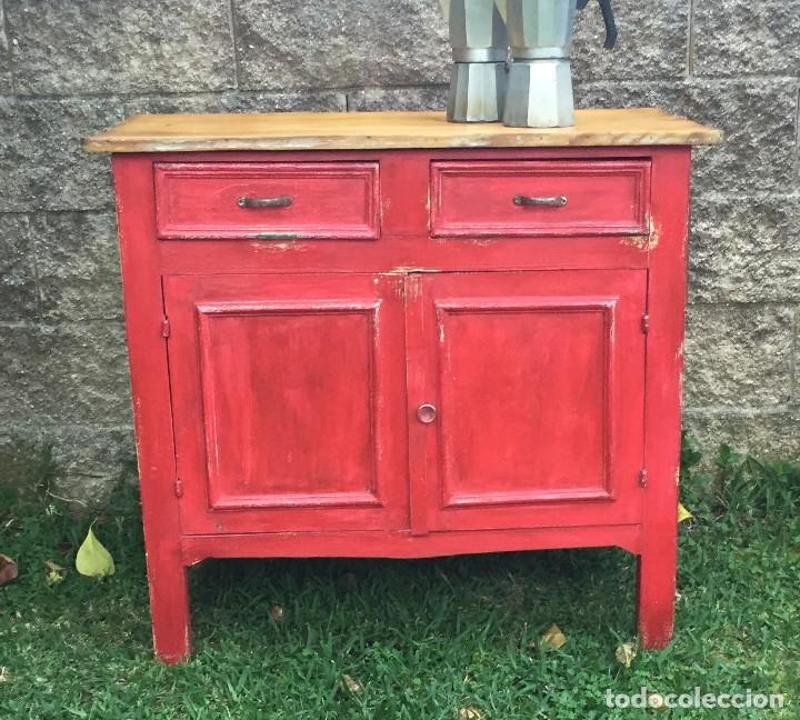 Mueble de cocina de pino pintado de rojo comprar muebles for Muebles de cocina vintage