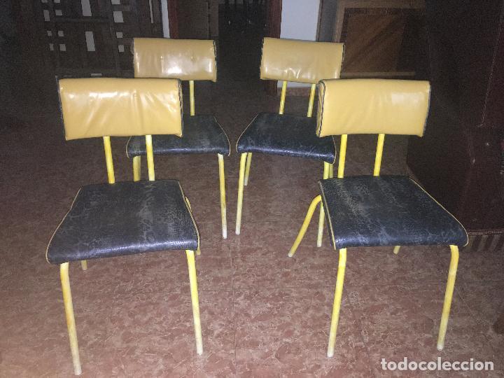 4 sillas de cocina, tapizadas en scay amarillo - Comprar Muebles ...