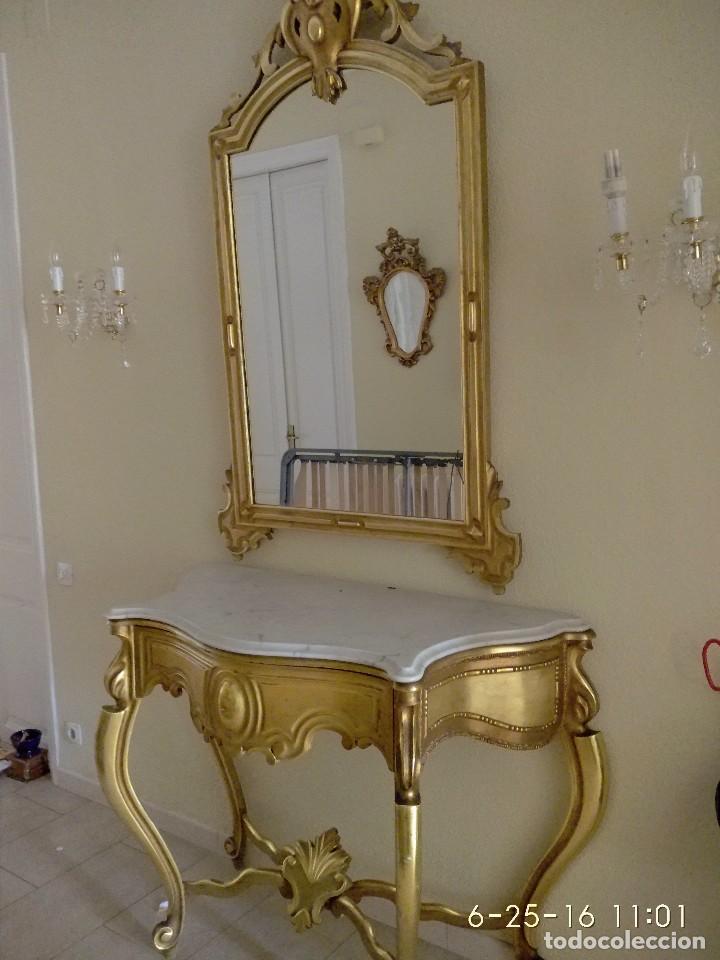 Consola mueble recibidor pan de oro con espejo comprar for Mueble recibidor vintage