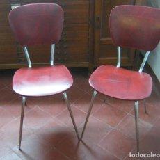 Vintage: VINTAGE RETRO 50'S 60'S .. ESTILO BAMBI ROJO Y ACERO .. LOTE PAR DE SILLAS. Lote 87123528