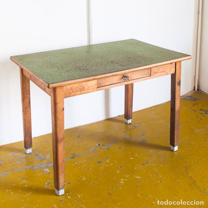 Mesa de cocina o escritorio madera de pino fr comprar muebles vintage en todocoleccion - Mesa escritorio madera ...