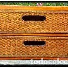 Vintage: MUEBLE CAJONERA RATÁN Y MADERA VINTAGE. Lote 88166760