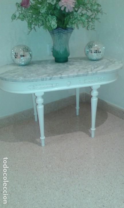 mesa baja de madera decape blanca y encimera de mrmol vintage muebles - Encimera De Marmol