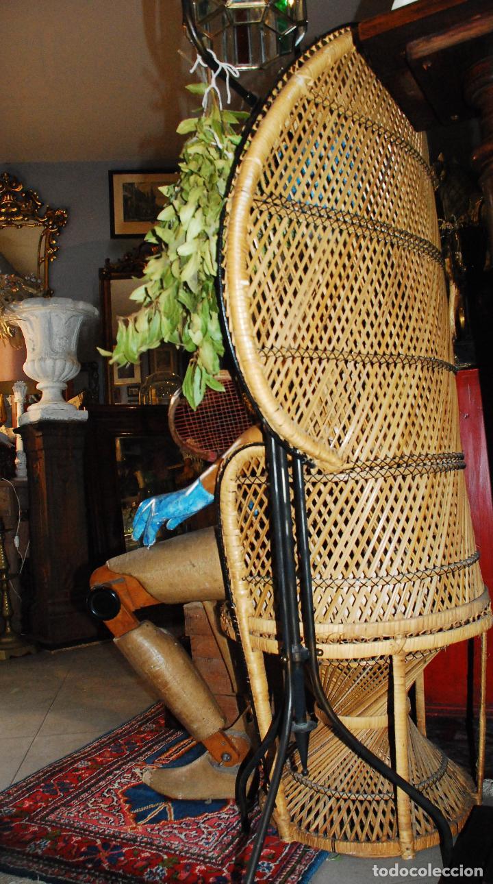 Vintage: ESPECTACULAR SILLA PEACOCK O ENMANUELLE DE MIMBRE - Foto 10 - 89855268