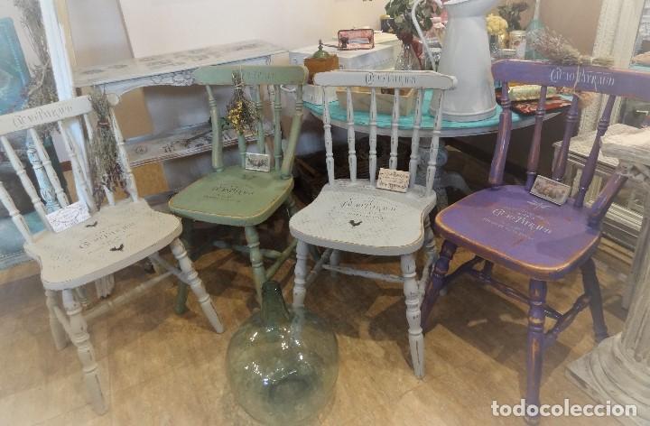 conjunto mesa y sillas de comedor estilo windsor vintage blanca colores shabby chic frances vintage
