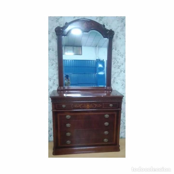 COMODA NOGAL MARQUETERIA CON MARCO 116 X 45 X 89 (Vintage - Muebles)