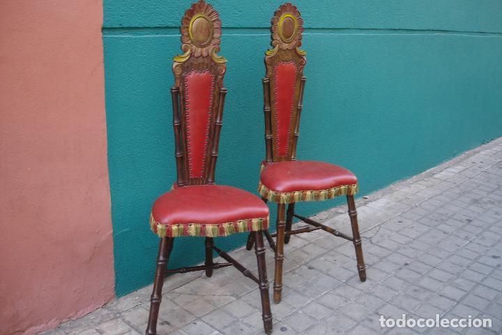 -SILLAS DE MADERA ESTILO CASTELLANO - 2 UNIDADES (Vintage - Muebles)