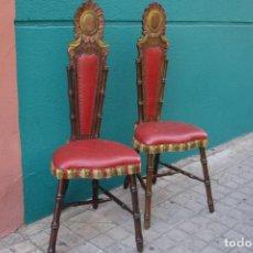 Vintage: -SILLAS DE MADERA ESTILO CASTELLANO - 2 UNIDADES. Lote 91760660