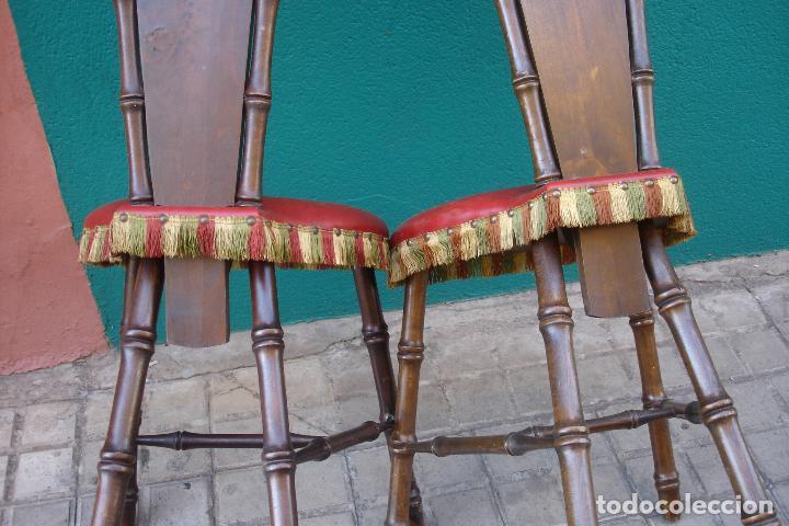Vintage: -SILLAS DE MADERA ESTILO CASTELLANO - 2 UNIDADES - Foto 4 - 91760660