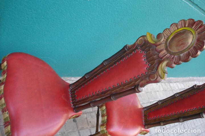 Vintage: -SILLAS DE MADERA ESTILO CASTELLANO - 2 UNIDADES - Foto 5 - 91760660