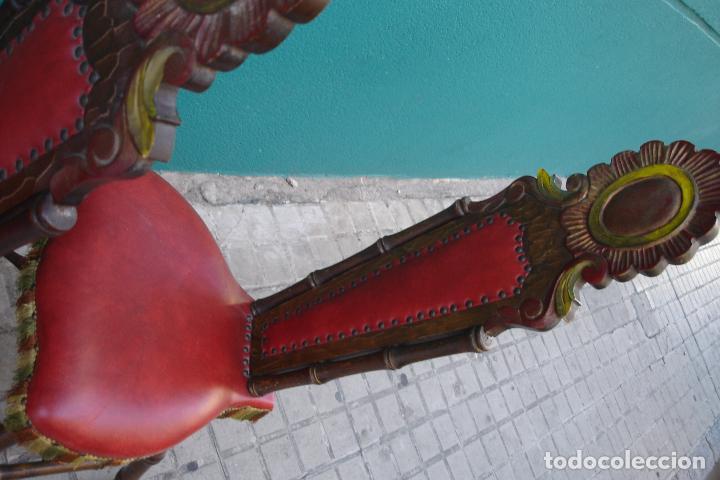 Vintage: -SILLAS DE MADERA ESTILO CASTELLANO - 2 UNIDADES - Foto 6 - 91760660