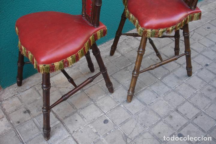 Vintage: -SILLAS DE MADERA ESTILO CASTELLANO - 2 UNIDADES - Foto 7 - 91760660