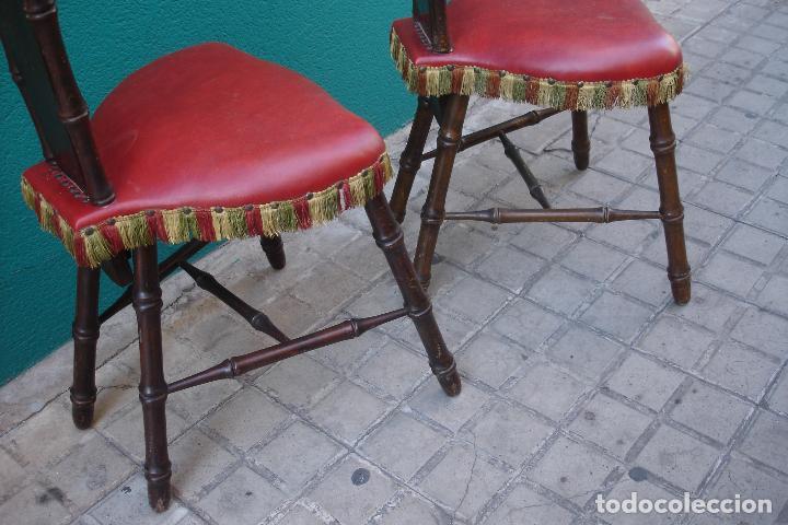 Vintage: -SILLAS DE MADERA ESTILO CASTELLANO - 2 UNIDADES - Foto 8 - 91760660