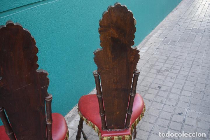 Vintage: -SILLAS DE MADERA ESTILO CASTELLANO - 2 UNIDADES - Foto 10 - 91760660
