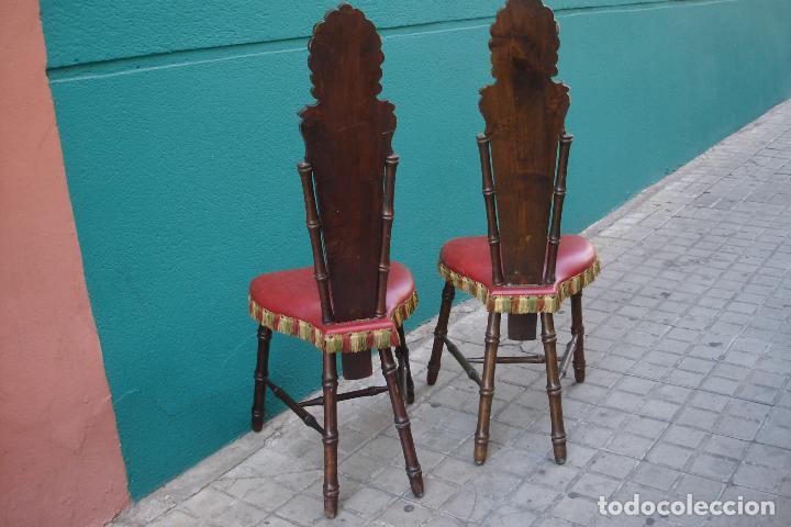Vintage: -SILLAS DE MADERA ESTILO CASTELLANO - 2 UNIDADES - Foto 12 - 91760660