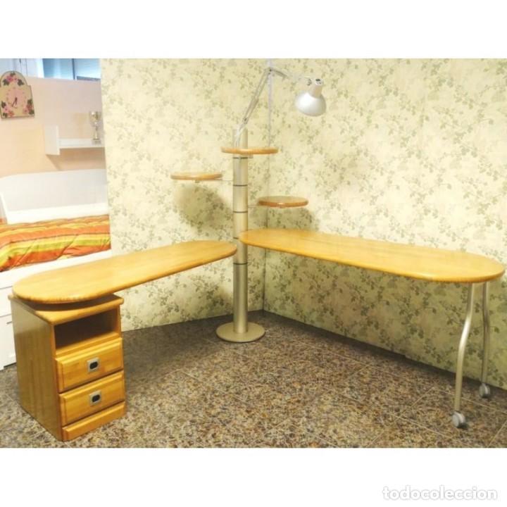 MESA ESCRITORIO GIRATORIA CON LAMPARA (Vintage - Muebles)