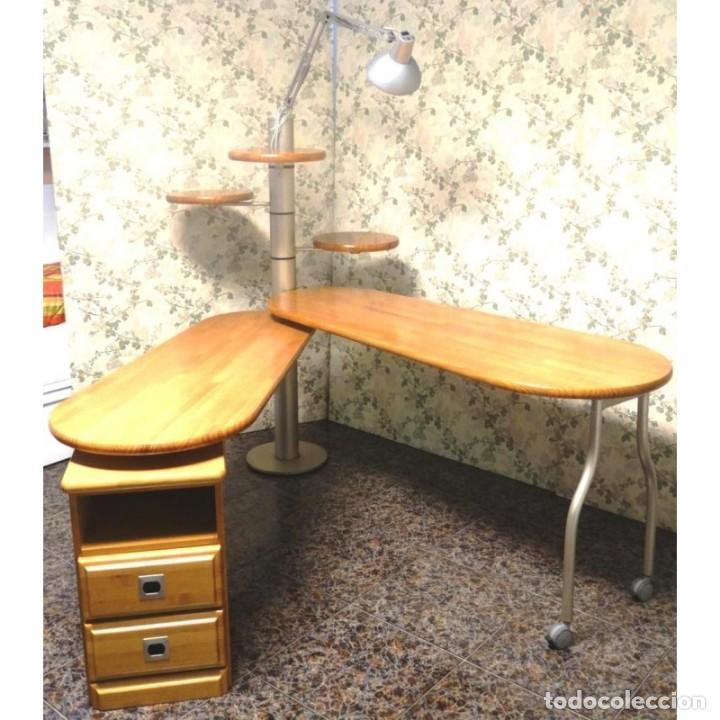 Vintage: MESA ESCRITORIO GIRATORIA CON LAMPARA - Foto 2 - 91799045