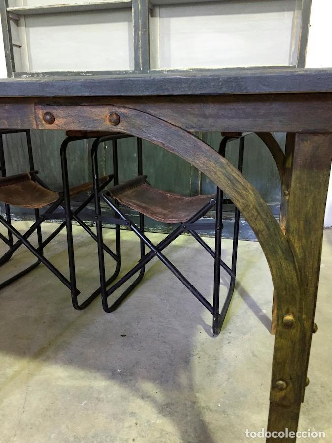 Mesa industrial de trabajo azul petr leo comprar muebles Mesas industriales vintage