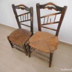 Vintage: ANTIGUAS SILLAS DE MADERA CON ASIENTO DE ANEA. AÑOS 40. PARA RESTAURAR. Lote 93197695