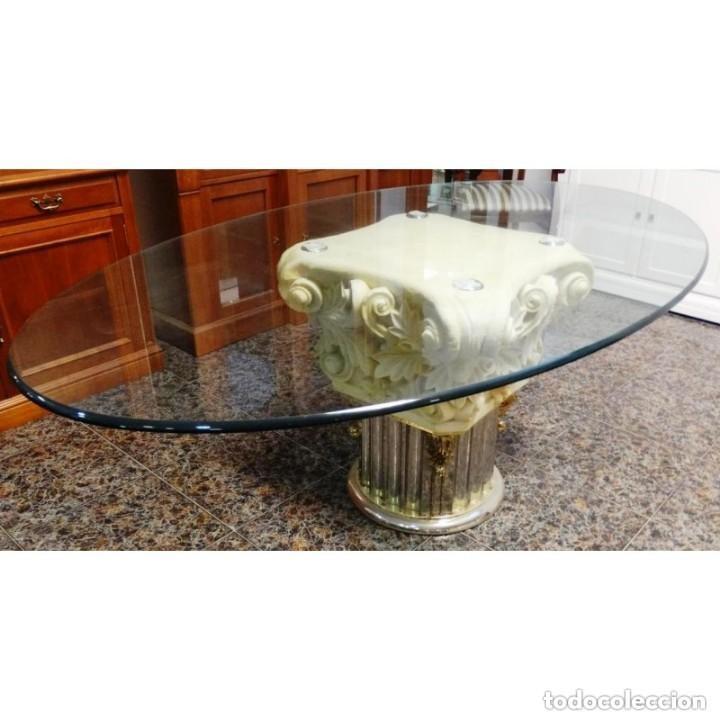 mesa de comedor cristal y marmol valenti 200 x comprar
