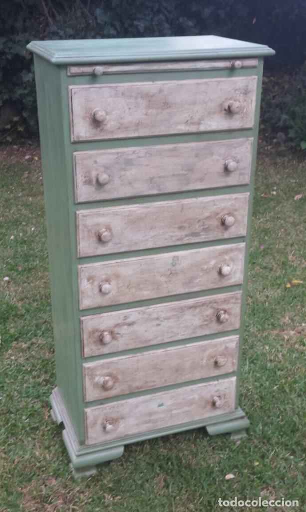 Mueble pintado de verde y beige con 7 cajones comprar for Muebles online vintage