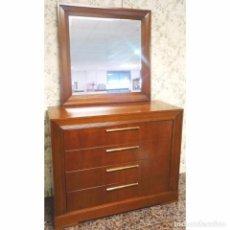 Vintage: COMODA CON ESPEJO CEREZO 120 X 48 X 95. Lote 97486471