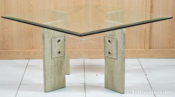 Vintage: Mesa baja de centro patas de mármol y metacrilato tapa de cristal años 70 - Foto 2 - 98205839