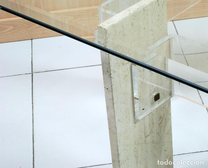 Vintage: Mesa baja de centro patas de mármol y metacrilato tapa de cristal años 70 - Foto 4 - 98205839