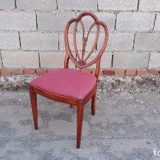 Vintage: SILLA DESCALZADORA ESTILO HEPPLEWHITE TAPIZADO ROSA, SILLA ANTIGUA ESTILO INGLÉS RETRO VINTAGE. Lote 98724071