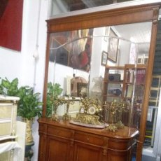 Vintage: CONSOLA,APARADOR, CÓMODA CON UN MURAL DE ESPEJO BISELADO. Lote 100197011